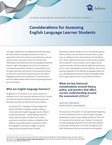 Student Assessment Inventory for School Districts: Considerations for Assessing English Language Learner Students | Achieve | Language Assessment | Scoop.it