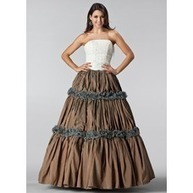[US$ 191.99] Ball-Gown Strapless Floor-Length Taffeta Lace Quinceanera Dress With Ruffle (021005220)   fantastic dresses   Scoop.it