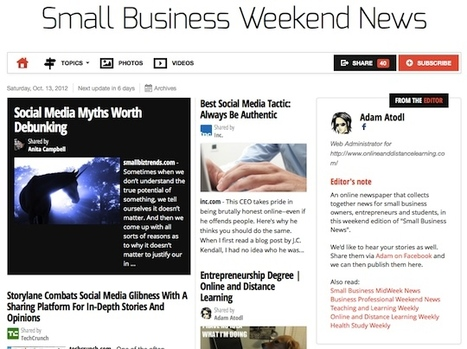 Oct 13 - Small Business Weekend News is out | Transformations in Business & Tourism | Scoop.it