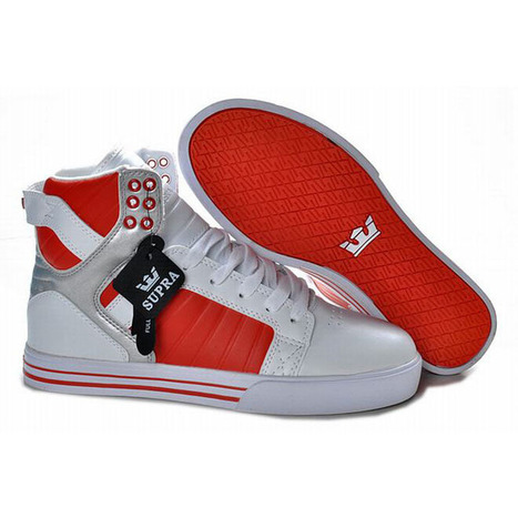 New Supra Skytop High Tops White Red Sliver Men Shoes | popular list | Scoop.it