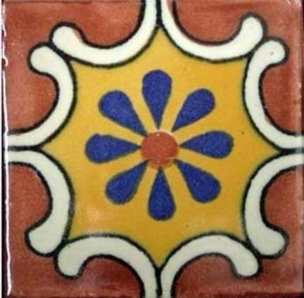 Blue Daisy/Orange Background Ceramic Mexican Tile   Mexican Furniture & Decor   Scoop.it