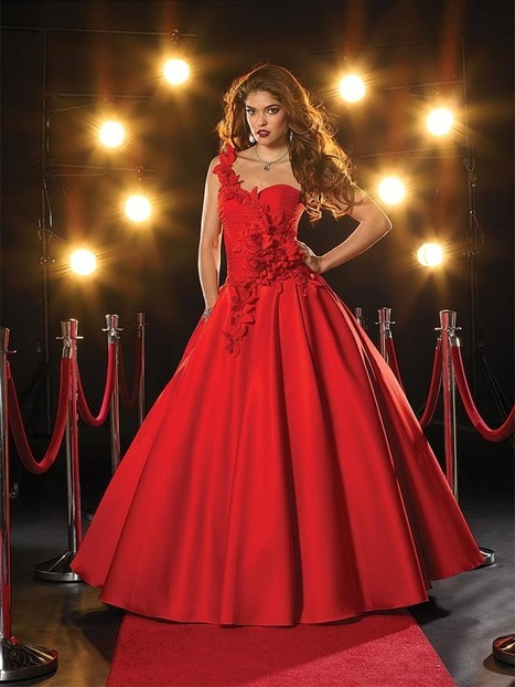 Ball Gown One Shoulder Satin Floor-length Sleeveless Flower(s) Prom Dresses at pickedlooks.com | Quinceanera Dresses 2014 | Scoop.it