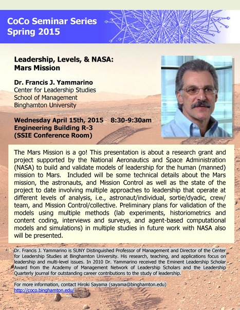 Next CoCo seminar on April 15th by SUNY Distinguished Professor Fran Yammarino on Mars Mission | Center for Collective Dynamics of Complex Systems (CoCo) | Scoop.it