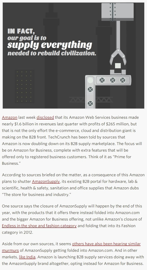 Sources: Amazon Plans 'Prime For Business', Folding AmazonSupply Into Big B2B Play - TechCrunch | The Marketing Technology Alert | Scoop.it