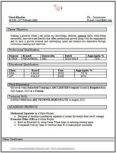 Over 10000 CV and Resume Samples with Free Download: B Tech Mehanical Fresher Resume Sample | Career | Scoop.it