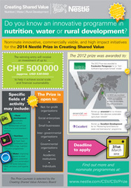 The Nestlé Prize in Creating Share Value, recognises innovation in Water, Nutrition & Rural Development | Awards Recognising Contributions to Social Change | Scoop.it