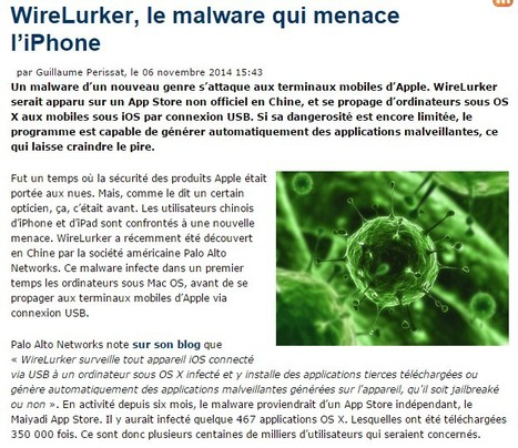 WireLurker, le malware qui menace l'iPhone | Cyber Security | Apple, Mac, iOS4, iPad, iPhone and (in)security... | Scoop.it