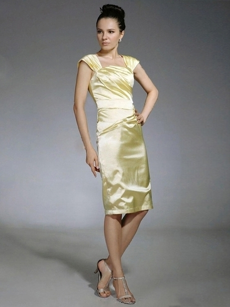 Sheath/Column Square Elastic Woven Satin Knee-length Sleeveless Pleats Prom Dresses at sweetquinceaneradress.com | SWEET 16 DRESSES | Scoop.it