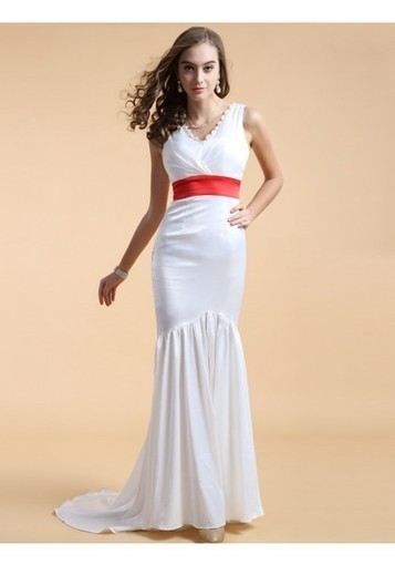 Trumpet Mermaid V Neck Brush Train White Evening Dress Olc0083 | Fashion Dresses Online | Scoop.it