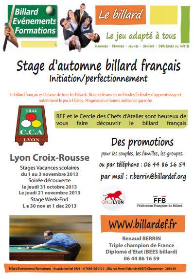 Stage d'automne Lyon Croix-Rousse - billard-évènements-formations | billard | Scoop.it