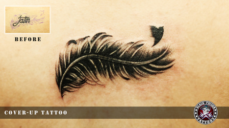 Amazing Cover-Up Bird Feather Tattoo   Black Poison Tattoos   Scoop.it