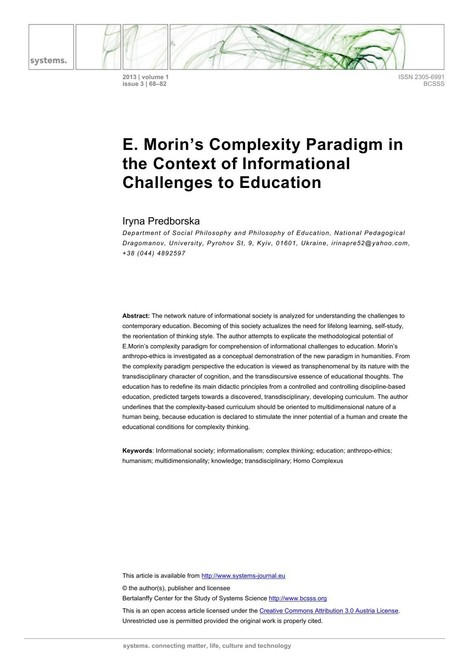 E. Morin's Complexity Paradigm in the Context of Informational Challenges to Education | Complexity & Systems | Scoop.it