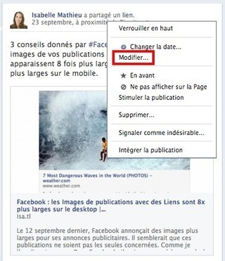Comment Modifier une Publication Facebook déjà publiée ? | Emarketinglicious | Business intelligence for Geeks | Scoop.it