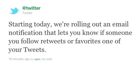 Twitter now sends Emails for Retweets and Favorites - TNW Twitter | Social media news | Scoop.it