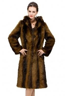 Faux brown bunny fur with hat long fur coat | Comfortable faux fur coat fashion | Scoop.it