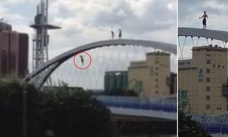 Shocking moment 'stupid' teenager wearing just shorts jumped 50ft from a ... - Daily Mail | millenium bridge | Scoop.it