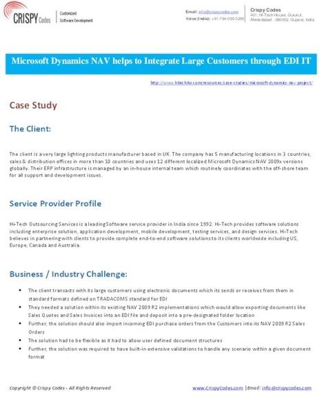 Microsoft Dynamics NAV helps to Integrate Large Customers through EDI   CrispyCodes   Scoop.it