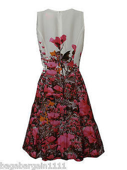 NEW EX MONSOON IVORY WHITE RED PINK BROWN FLORAL SUMMER PARTY TEA DRESS VINTAGE | contemporary fashion design | Scoop.it