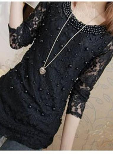 Stunning Long Sleeve Lace Pearl Classical T-Shirt | Fashion Zone | Scoop.it