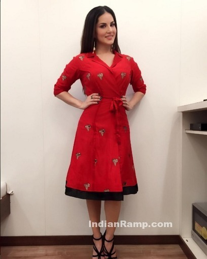 Bollywood Baby Doll Sunny Leone in Rinku Sobti red Robe Skirt, Actress, Bollywood, Hollywood, Indian Fashion, Western Dresses | Indian Fashion Updates | Scoop.it