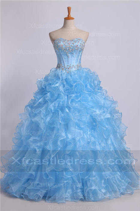 Beaded Strapless Cheap Ruffled Quinceanera Dresses QUXF12 | women fashion dresses | Scoop.it