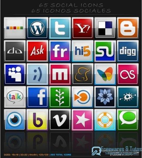 Un joli pack de 65 icônes sur les réseaux sociaux à télécharger gratuitement | Time to Learn | Scoop.it