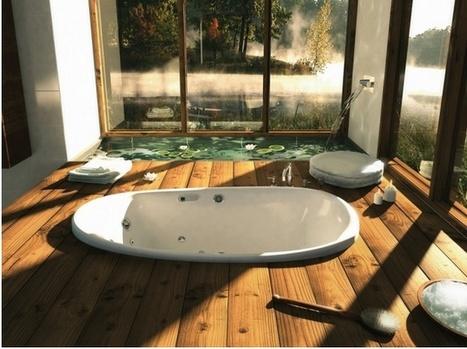 "Sunken Bathtub shows off hardwood flooring!   Alexanian Carpet & Flooring - ""The World at Your Feet"" www.alexanian.com   Scoop.it"