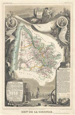 Rare Antique Maps: 1852 Levasseur Map of Gironde (Bordeaux ... | Estuaire de la Gironde | Scoop.it