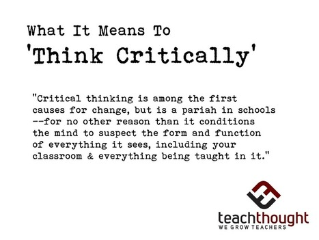 What It Means To Think Critically | School Library Advocacy | Scoop.it