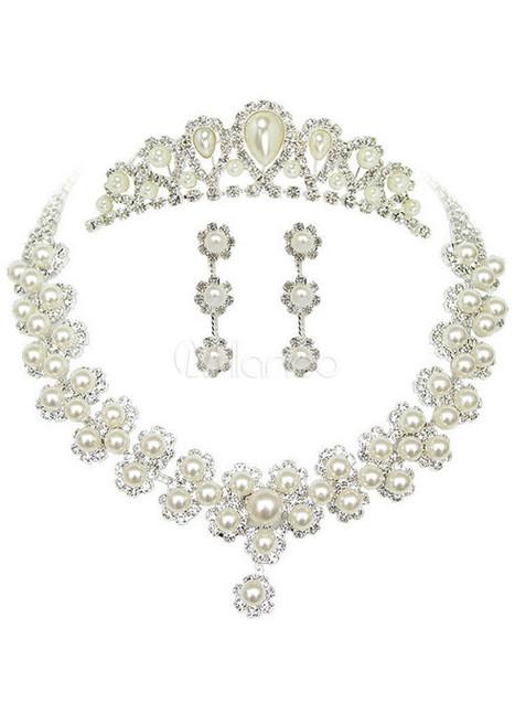 Sweet Silver Pearl Metal Tiara Earrings Necklace Wedding Set   wedding  jewelry   Scoop.it