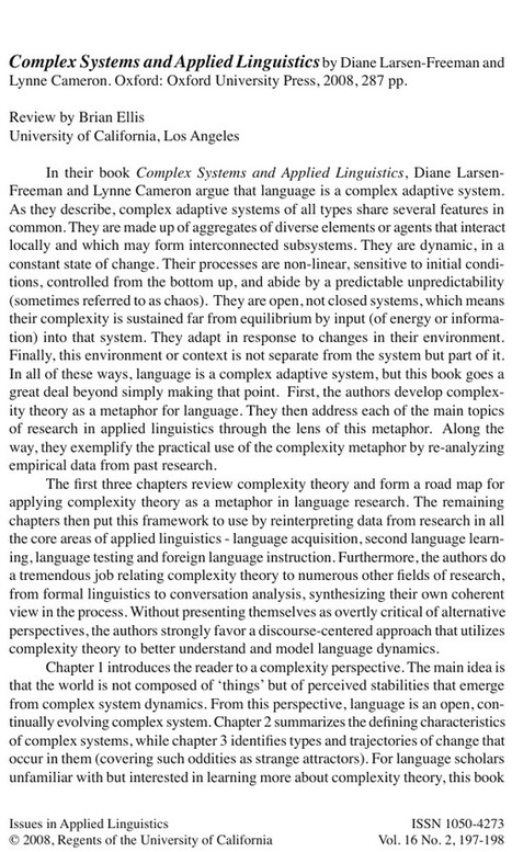 Complex systems & applied linguistics: Larsen-Freeman & Cameron, 2008 (review) | TELT | Scoop.it