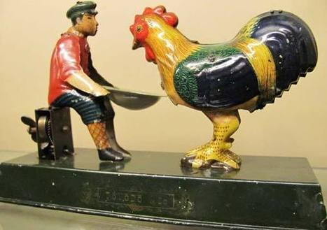 The Automata Blog: Antique tin toy depicts a boy feeding a dinosaur-sized chicken | Heron | Scoop.it
