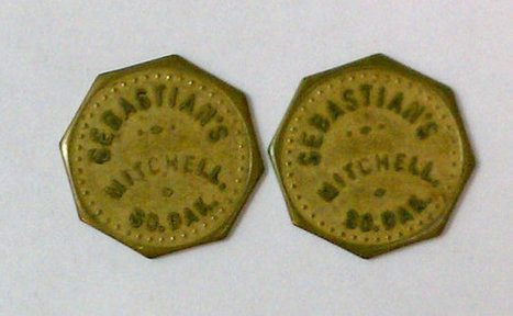 """Lot of 2 Vintage Antique Advertising Trade Tokens """"Sebastian's"""" Mitchell SD 10c Octagons   Antiques & Vintage Collectibles   Scoop.it"""