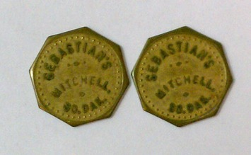 """Lot of 2 Vintage Antique Advertising Trade Tokens """"Sebastian's"""" Mitchell SD 10c Octagons 