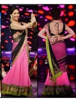 Buy Latest Designer Madhuri in Pink & Black Lehenga Choli 2106 | Online Shopping | Scoop.it