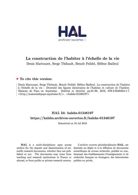 La construction de l'habiter à l'échelle de la vie (Habitat et identité)   Habiter l'espace. Géographie de l'habiter   Scoop.it