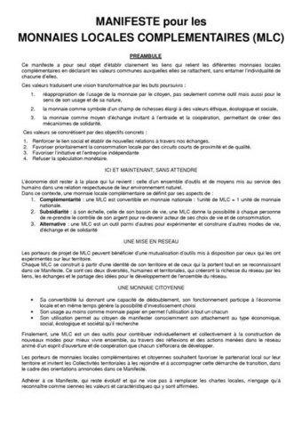 Projet de Manifeste du réseau des MLC   Monnaies locales complémentaires   Monnaies En Débat   Scoop.it