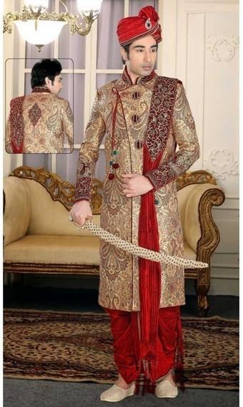Tantalizing Cream Banarasi Silk Menswear Dhoti Sherwani | fashionheena.com | Scoop.it