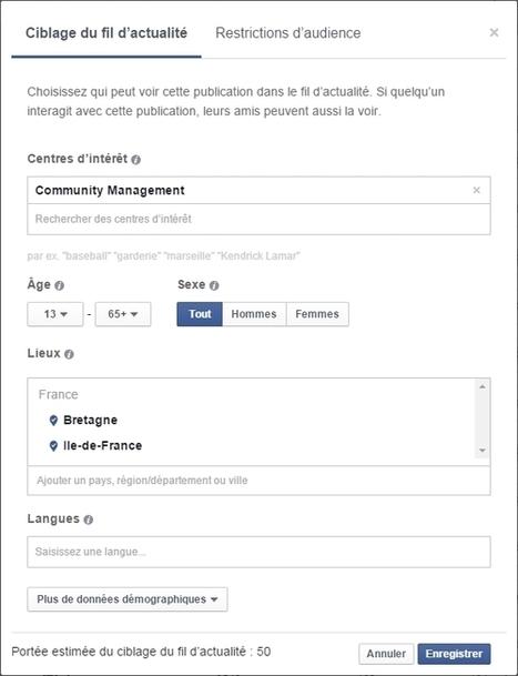 Pages Facebook : de nouveaux outils gratuits pour mieux cibler les publications | CommunityManagementActus | Scoop.it