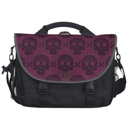 Rococo Skull and Crossed bones damask Commuter Bag from Zazzle.com | Laptop Bags | Scoop.it