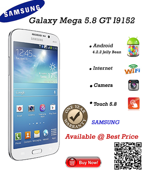 Unbeatable Price Deal only for Today, Samsung Galaxy Mega 5.8 GT Only @ BaseThings.co | BaseThings | India's first QR Based online shopping site | Scoop.it