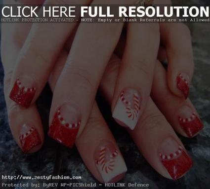 Red and White Christmas Nail Art Design Ideas - Zesty Fashion | nail art | Scoop.it