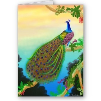 Exotic Green Peacock Greeting Card from Zazzle.com   Artistic Greeting Cards   Scoop.it