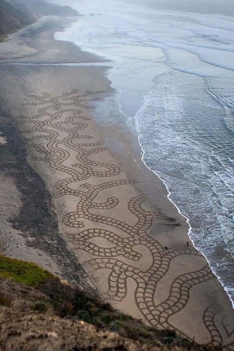 A Man Takes A Single Rake to The Beach. And When You Zoom Out And See It... Mind BLOWN. | Random Acts of Kindness, Senseless Acts of Beauty | Scoop.it