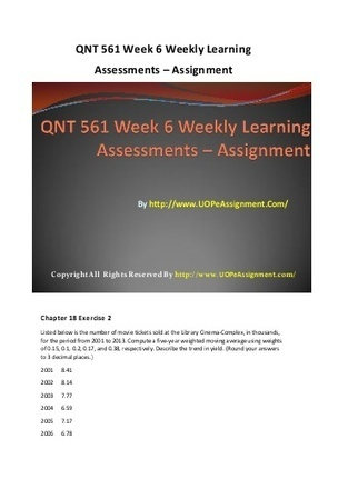 QNT 561 Week 3 Weekly Learning Assessments - Assignment | UOP Entire Course | Scoop.it