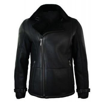 Mens Winter Real Sheepskin Black Mid Length Fitted Designer Jacket Cross Zip | Mens clothing | Scoop.it