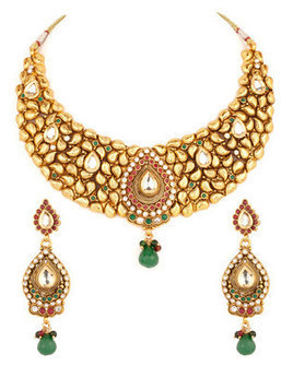 Necklace Sets: Fashionable Gold Plated Dew Drop Style Stone Set - Buy Jewellery Online | Voylla.com | Jewelry | Scoop.it
