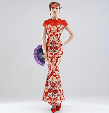 Chinese Bridal Qipao Mermaid Ankle-length Brocade Wedding Cheongsam for Spring | Cheongsam | Scoop.it