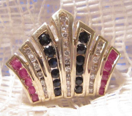 Vintage 14 KT Gold Slider with Rubies, Diamonds, and Sapphires | Fabulous Vintage Jewelry | Scoop.it