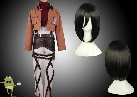 Survey Corps Jacket Mikasa Ackerman Cosplay Costume + Wig | Attack on Titan Cosplay Costumes | Scoop.it